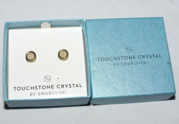 Touchstone Crystal Golden Shadow Antique Ice Stud Earrings NEW 4419EF
