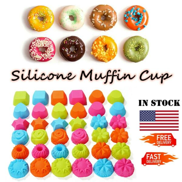 Silicone Cake Muffin Chocolate Cupcake Liner Baking Cup Cookie Mold 12 24 36 Pcs