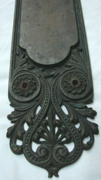 PAIR ANTIQUE FANCY LARGE 25 1 2quot; BRASS DOOR PLATES $185.00