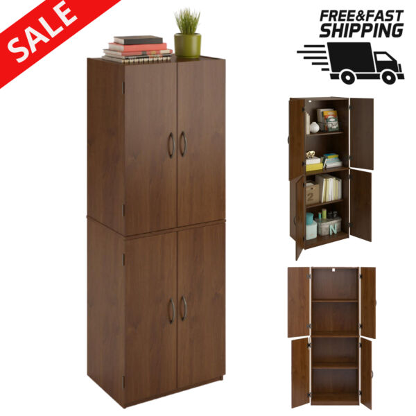 Kitchen Pantry Tall Storage Cabinet Cupboard Organizer 4 Shelf Large Wood chest