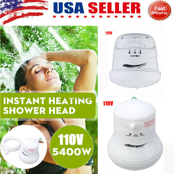 Electric Water Heater Nozzle Tankless Instant Heating Temp Control Shower Head $18.99