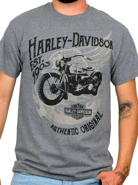 Harley Davidson Mens Good Times Vintage Motorcycle Grey Short Sleeve T Shirt