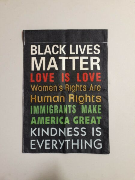 Human Rights Burlap Yard Flag Banner 12x18 Inches New