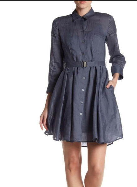NWT THEORY Jalyis Sunny Shirt Dress Linen Fit Flare Sz 00 Blue $52.00