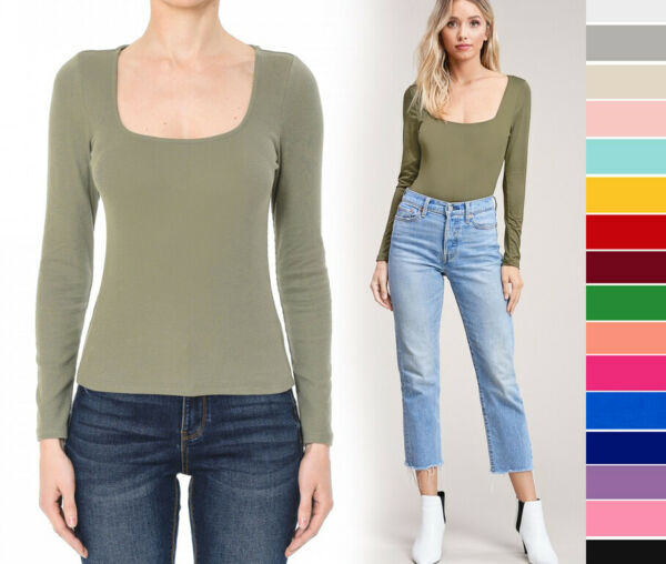 S L Women#x27;s Basic Squared Scoop Neck Long Sleeve T Shirt Soft Cotton Knit Solid $12.99