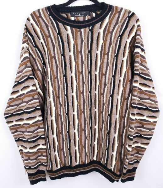 VTG Protege Mens Sz Large Coogi Style Bill Cosby Biggie Sweater Brown 90s B32 $28.88