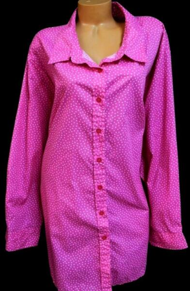 Woman within pink white polka dots long sleeves women#x27;s buttoned down top 5X $16.99