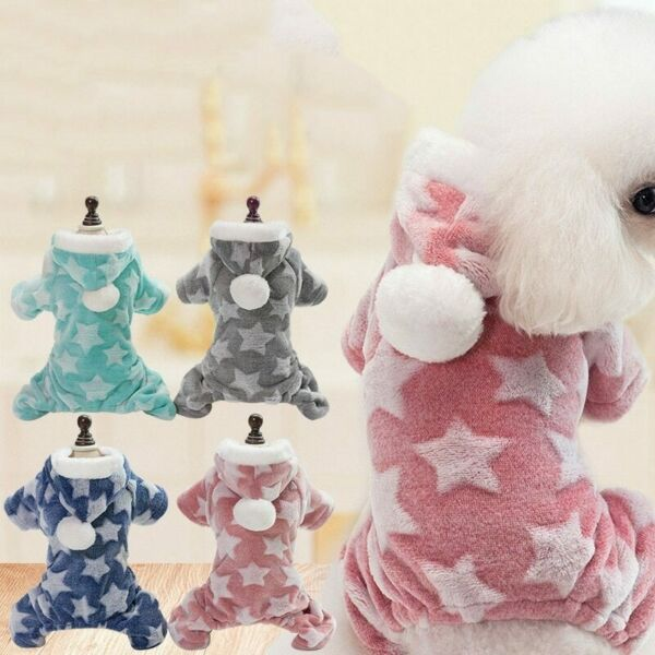 Pet Coat Hooded Winter Warm Soft Jacket Fleece Star Printed Small Dog Clothes $6.99
