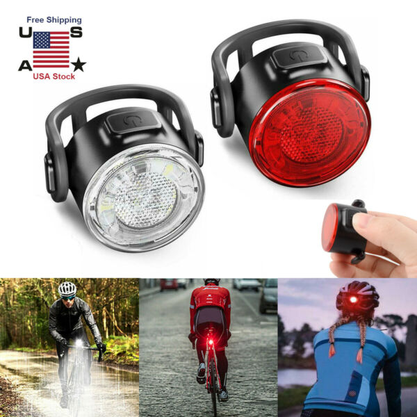 12LED USB Rechargeable Bike Lights Set Headlight Taillight Caution Bicycle Light $12.99