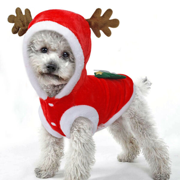 Christmas Pet Dog Clothes Xmas Costumes Winter Coat Clothing Puppy Outfits $8.95