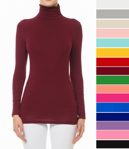 S M L Women#x27;s Basic Scrunch Turtleneck Top Stretch Knit Cotton Solid Long Sleeve $13.99