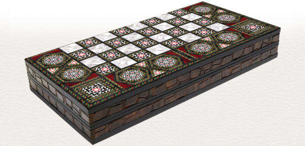 20quot; Mother of Pearl Pattern Laminated Compressed Wood Checkers Backgammon Set