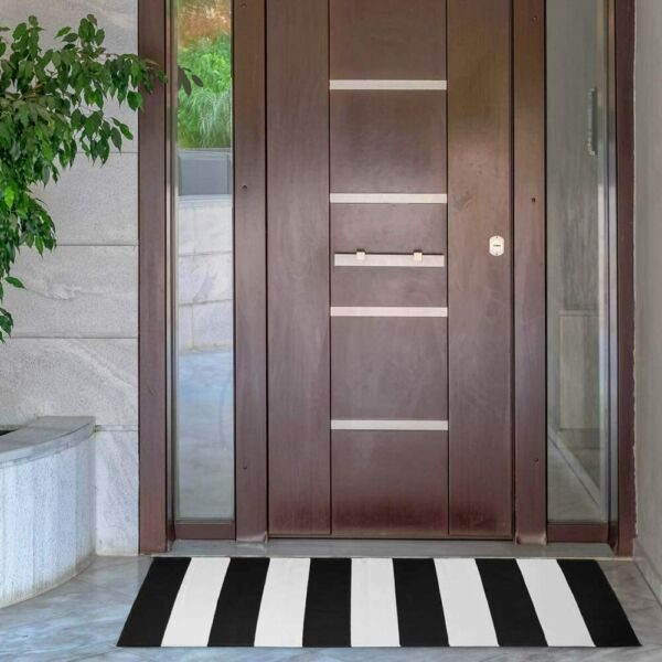 NANTA Black and White Striped Rug 3 x 5 Cotton Woven Indoor Outdoor Rugs