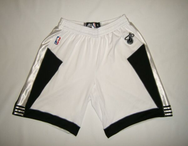 Adidas Miami Heat White Tie Suit Team Issue Game Shorts Sz XL 2 Worn Vtg Lebron $189.99