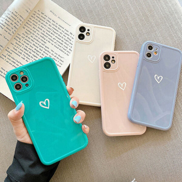 For iPhone 12 11 Pro Max XS XR 7 8 Plus Cute Love Heart Silicone Soft Case Cover $3.59