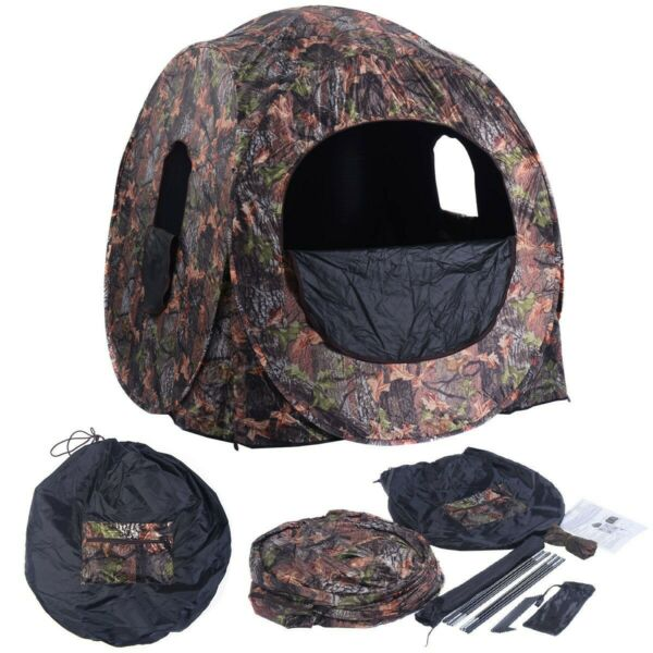 New Large Portable Pop Up Ground Camo Blind Hunting Enclosure For 2 3 People