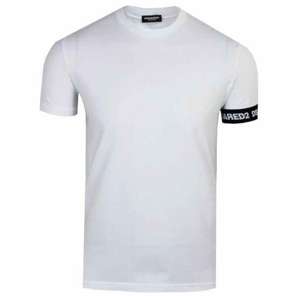 DSQUARED2 T SHIRT MENS ROUND NECK CUFF DETAIL WHITE TEE GBP 69.99