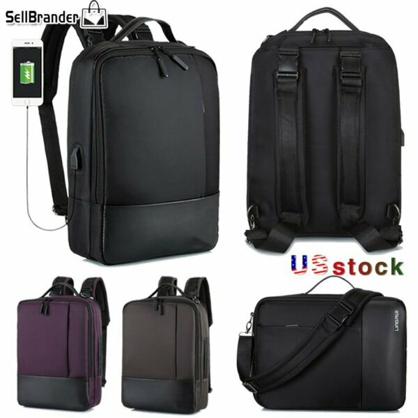 Mens Business 15.6quot;Laptop Waterproof Backpack Travel Bags USB Charging Notebook $19.95
