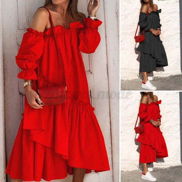 US Womens Ladies Ruffle Off Shoulder Long Dress Party Vintage Dresses Oversized