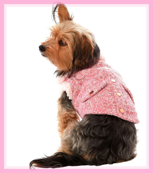 Top Paw Pinks amp; Gold Tweed Fleece Fancy Dog Coat XS $10.98