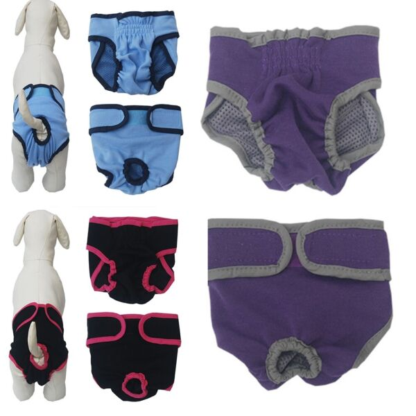 Female Dog Diapers Large Pet Sanitary Pants Cotton Nappies For Season Heat XS L $3.94