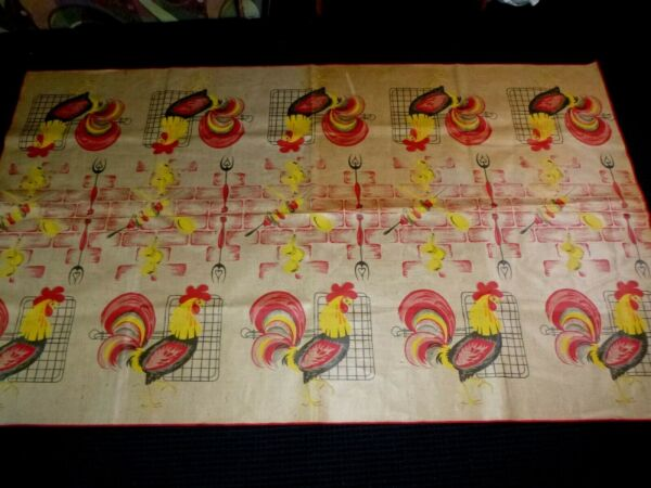 Vtg Vinyl Coated Burlap Picnic Table Size Tablecloth Roosters Shish Kabobs