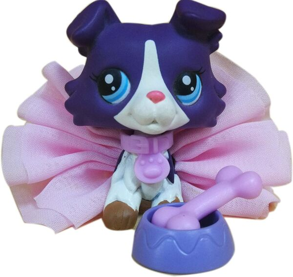 LPS Collie 1676 Purple Dog with lps Accessories Lot Bow Skirt Collar Figure $11.89