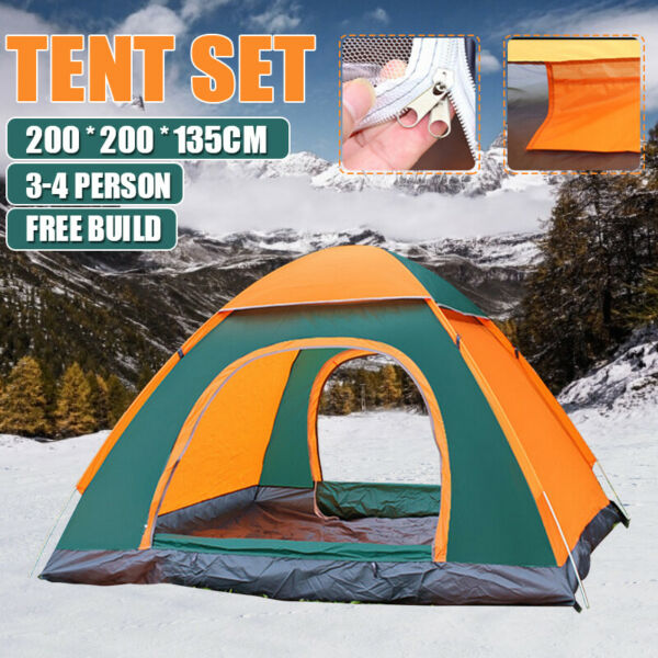 Waterproof 3 4 Person Automatic Instant Pop Up Outdoor Camping Tent Family BLUE $28.00