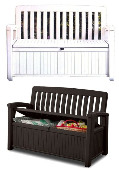 Outdoor Furniture Storage Deck Box Keter 60 Gallon Patio Pool Bench Seat $134.99