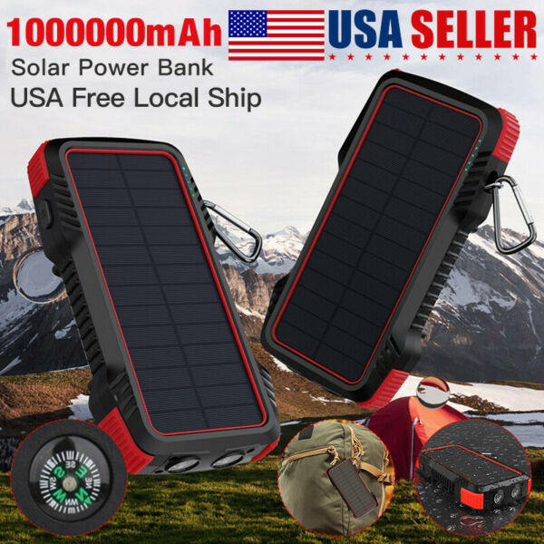 Solar Charger Power Bank PD 18W Portable Quick Charger With 4 Outputsamp;Dual Input