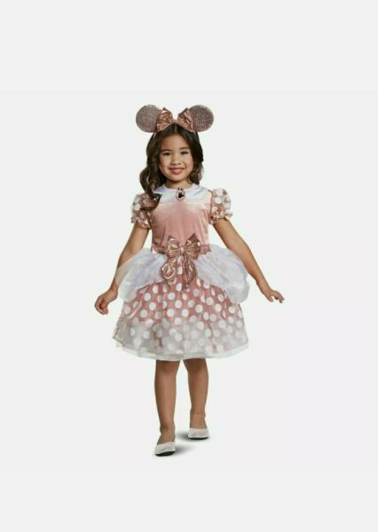 Toddler Girls Small 2 2T Classic Minnie Mouse Halloween Costume Rose Gold Velour $24.00