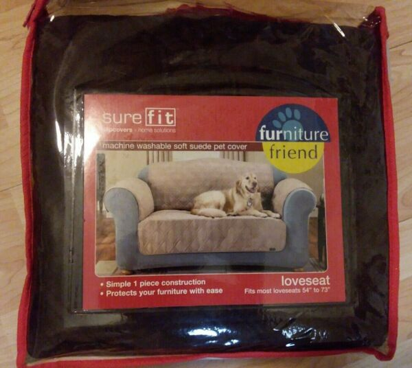 NEW SURE FIT QUILTED FAUX SUEDE CHOCOLATE BROWN WASHABLE PET SLIPCOVER LOVESEAT $32.49