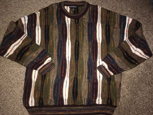 Vintage 90s Mens Chunky Coogi Textured Cosby Biggie Sweater BACHRACH Hip Hop L $37.98