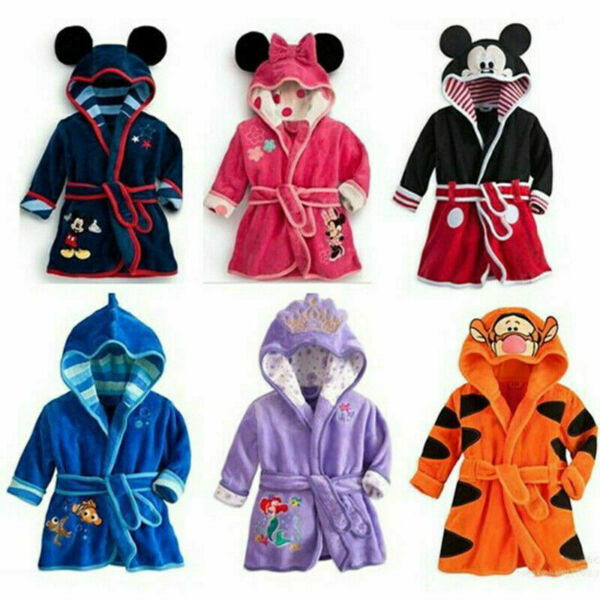 Minnie Baby Boys Girls Cartoon Hooded Bathrobe Child Toddler Bathing Towel Robe