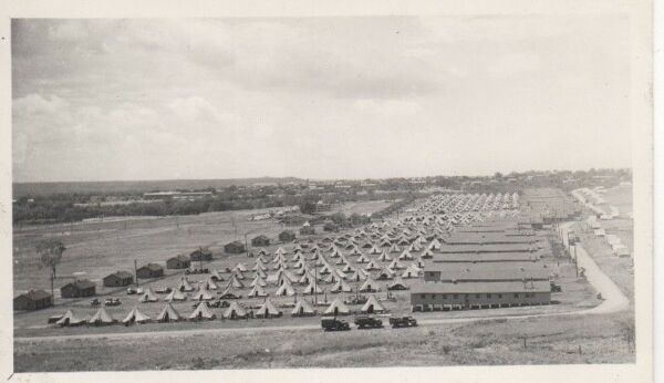 Real Photo Postcard Military Tents Building Trucks