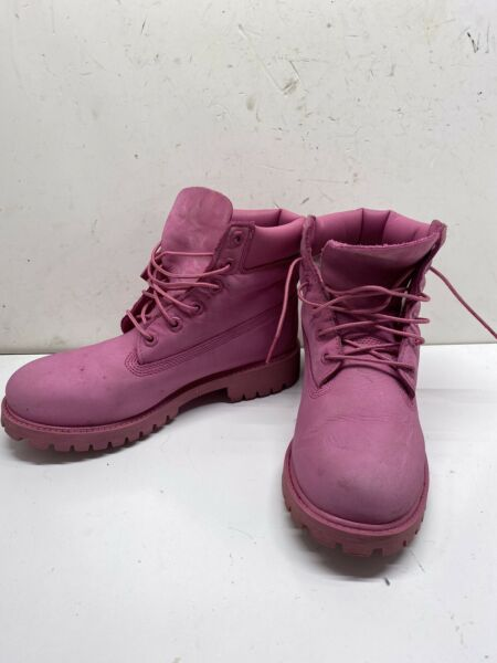TIMBERLAND Pink Boots size 5.5 In Boys Leather Waterproof $69.99