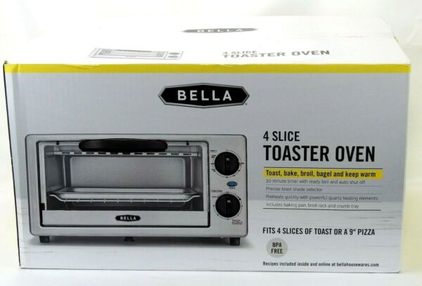 Bella 4 Slice Toaster Oven Stainless Steal * NEW* BPA Free Toast Bake Broil