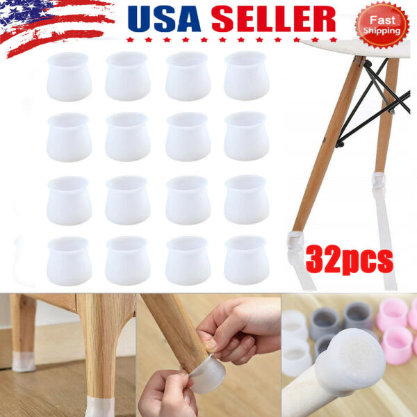 32pcs Silicone Table Chair Leg Protection Cover Furniture Feet Pad Cap Protector $9.99
