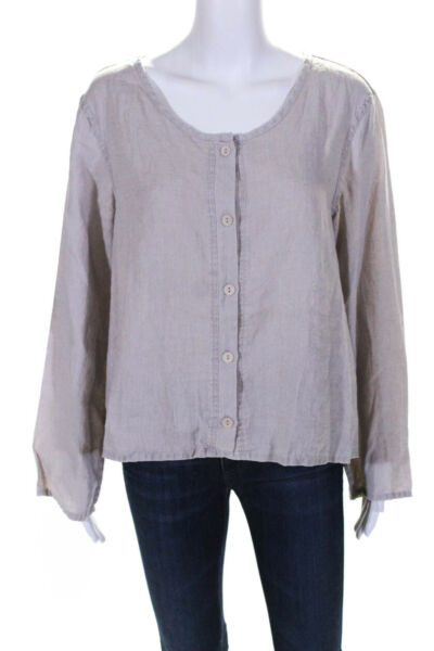 Flax Womens Linen Button Down Long Sleeve Shirt Beige Size Small $25.01