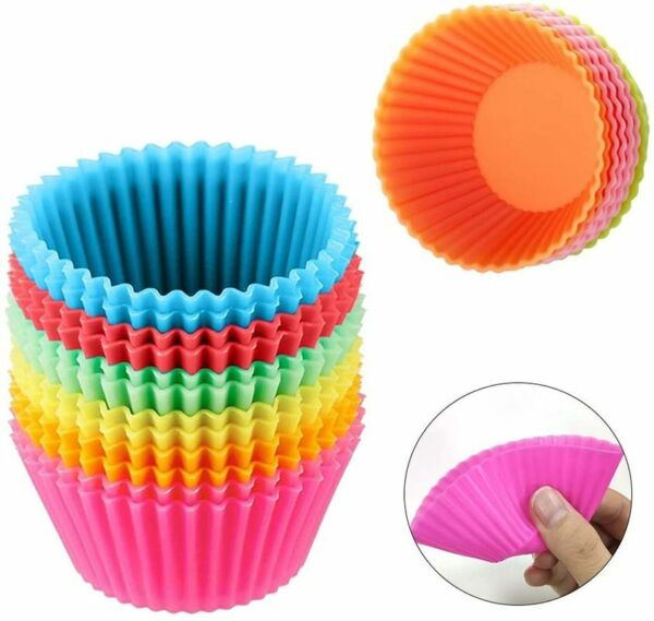 Silicone Cupcake Baking CupsMulti Color Reusable Muffin Cup Liners 24 Pack