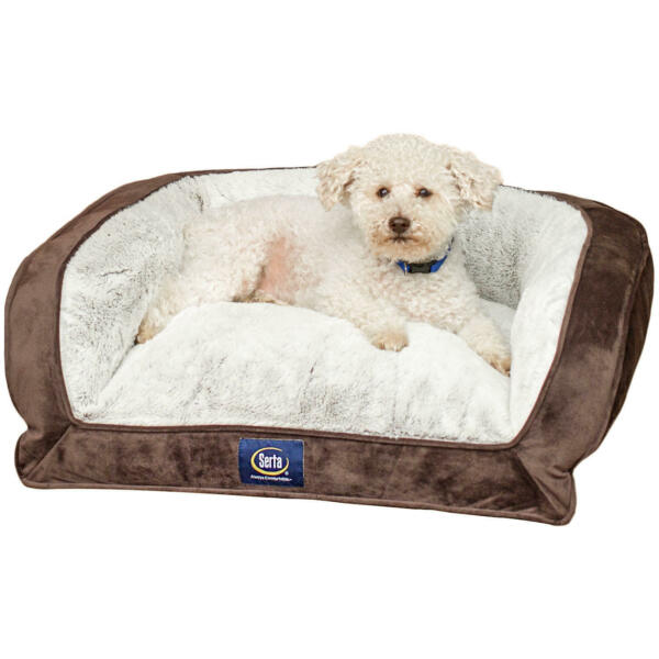 Serta Perfect Sleeper Memory Foam Blend Couch Pet Bed 24quot; x 20quot; Brown $29.97
