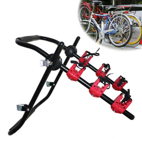 Iron Car Bicycle Rack Hold 3 Bikes Trunk Bike Rack Roof Sucker Carrier Holder $44.08