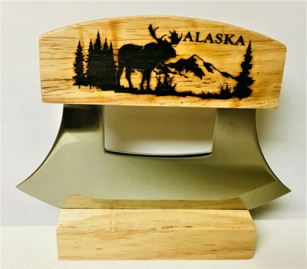 ALASKAN ULU KNIFE STAINLESS STEEL BLADE WITH ETCHED MOOSE ON THE HANDLE