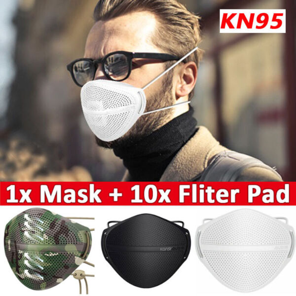 Reusable Face Mask Carbon Filters Mouth Nose Separate Anti Haze Fog Washable $11.18