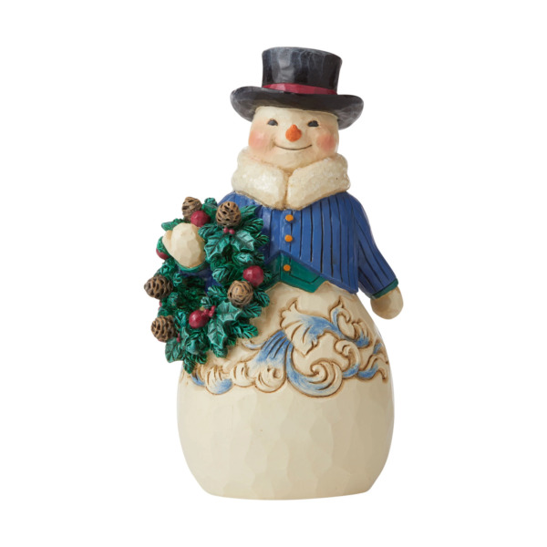 Jim Shore 2020 VICTORIAN SNOWMAN WITH WREATH RIGHT HEARTY WINTER WISHES 6006599