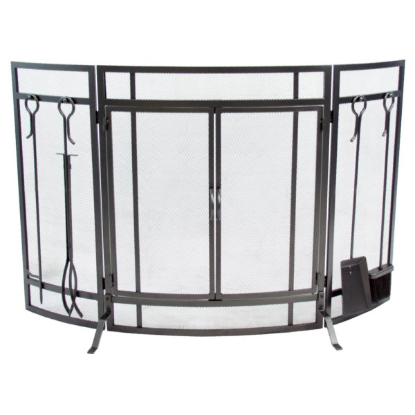 Pleasant Hearth Curved 3 Panel Screen W Tools Vintage Iron amp; Fireplace Screens