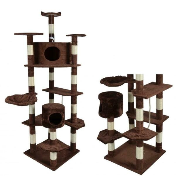 New Brown 80quot; Cat Tree Condo Scratching Furniture Post Pet Cat Kitten House