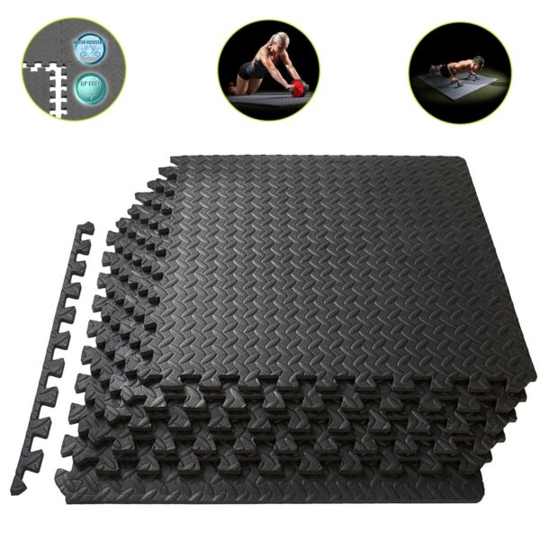 Exercise Floor Mat Gym Garage Home Tiles Rubber Flooring Fitness Yoga Workout $25.99