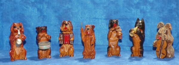 Hand Carved Wood Dog Band Orchestra Musical Group Terrier Shephard Shitzu More $75.00