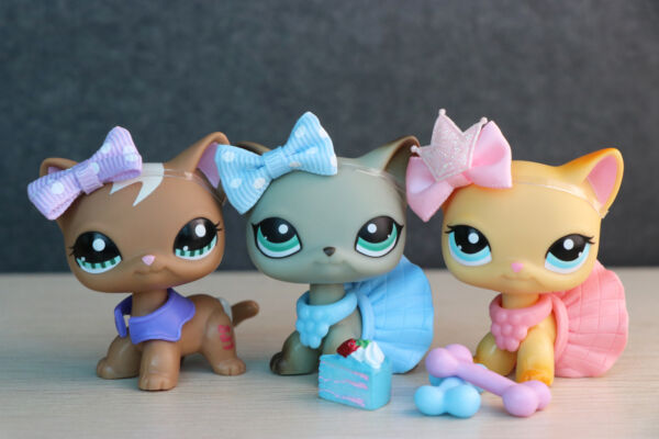 3lot Littlest Pet Shop lps Short hair cat 1170 391 363 Kitty with Accessories $13.28